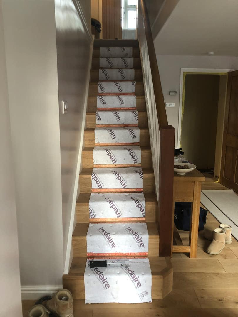 Engineered wood flooring and stair runner 0