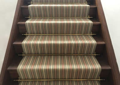 Domestic Staircase with Antique Brass Stair Rods